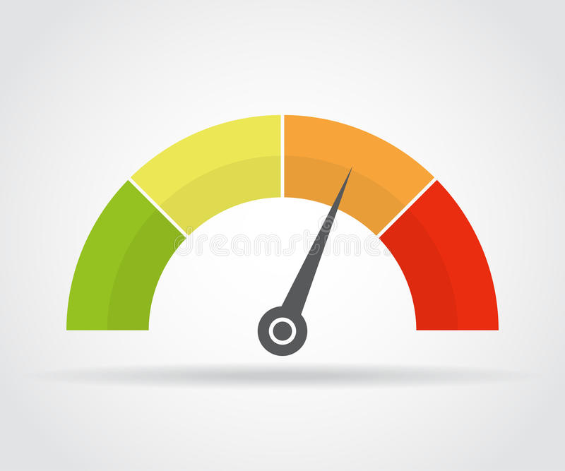Speedometer icon. Colorful infographic gauge element with shadow stock illustration