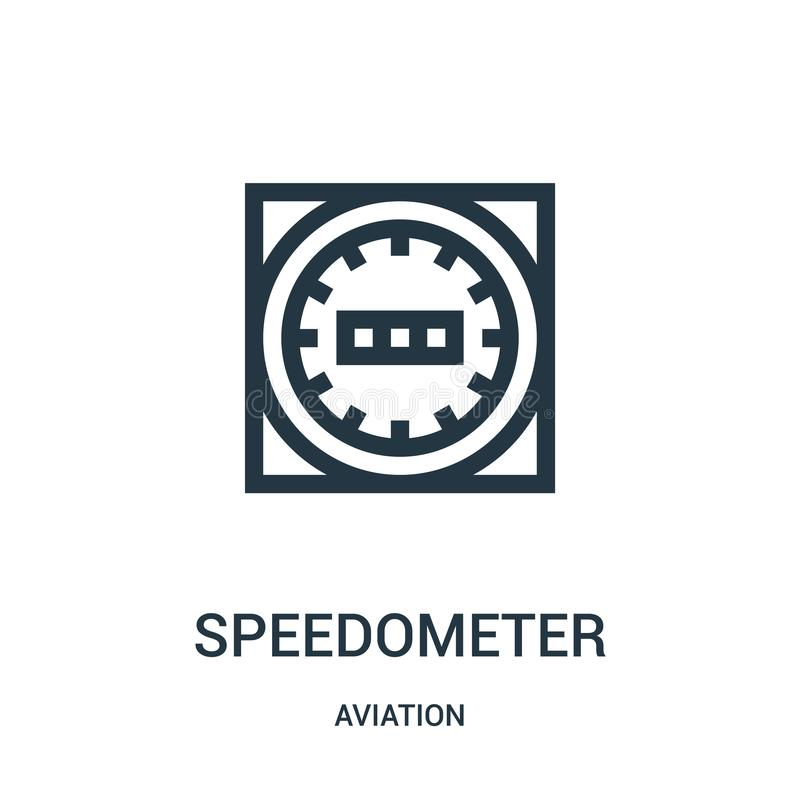Speedometer icon vector from aviation collection. Thin line speedometer outline icon vector illustration. Linear symbol for use on. Web and mobile apps, logo royalty free illustration