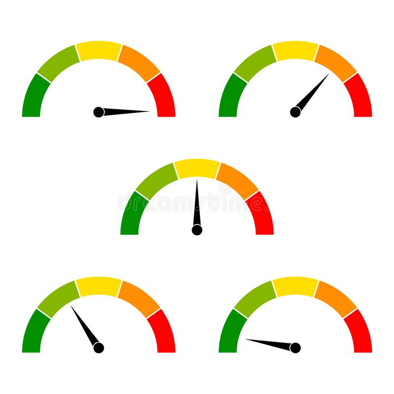 Free Speedometer Icon With Arrow. Dashboard With Green, Yellow, Red Indicators. Gauge Elements Of Tachometer. Low, Medium, High And Royalty Free Stock Photography - 175064917