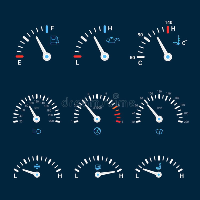 Speedometer interface icons. Speedometer gauge timer gas control measure interface icons set isolated vector illustration vector illustration