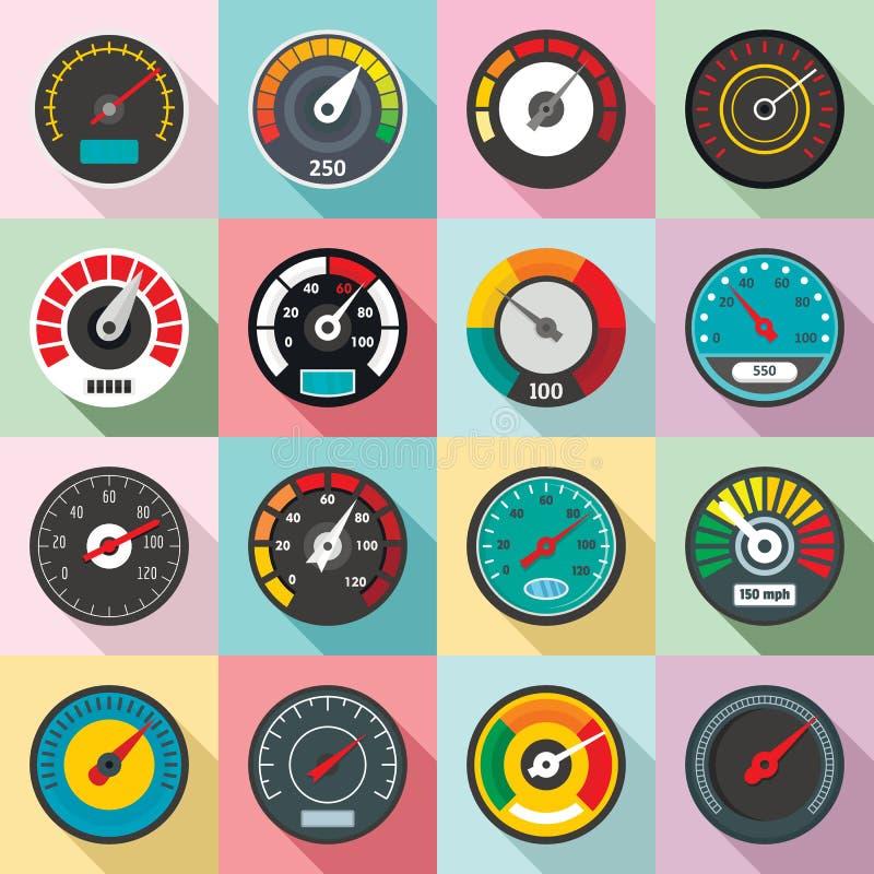 Speedometer level indicator icons set, flat style. Speedometer level indicator icons set. Flat illustration of 16 speedometer level indicator vector icons for vector illustration