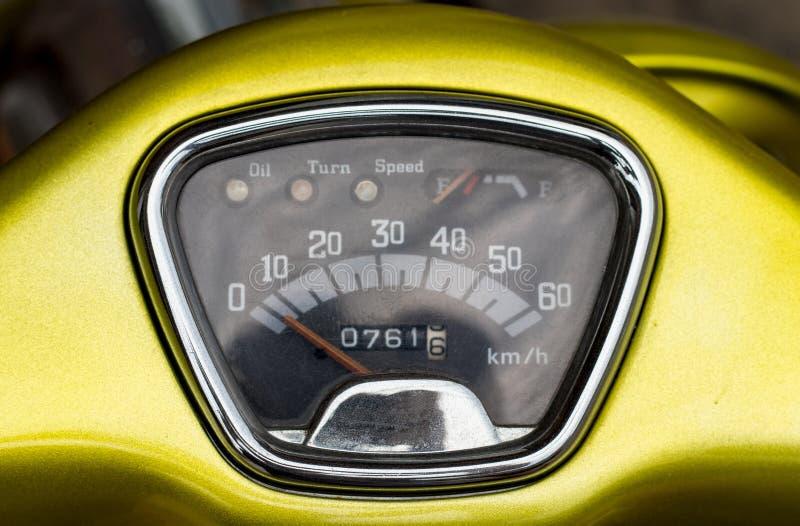 Speedometer on the steering wheel moped stock image