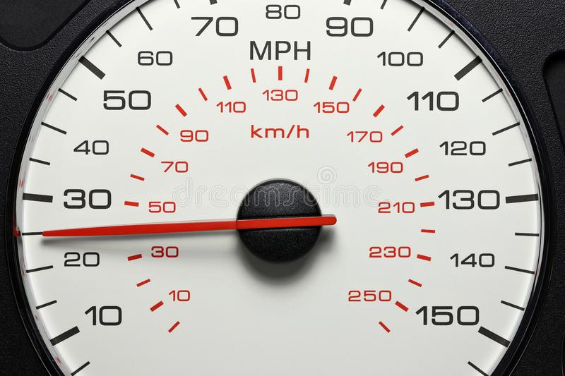 Speedometer at 25 MPH. Speedometer of a car at 25 MPH stock photography