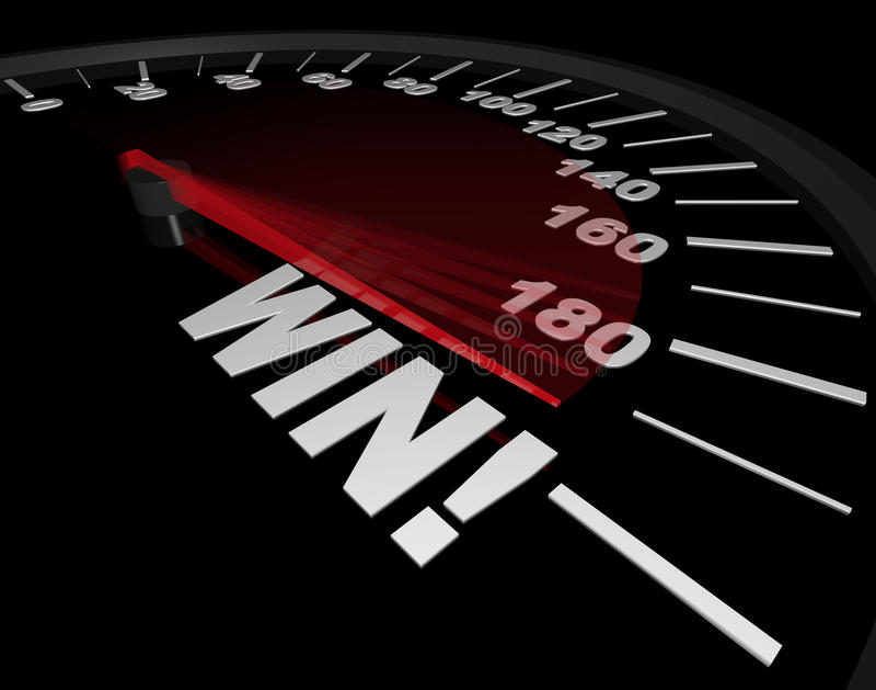 Speedometer - Needle Points to Win vector illustration