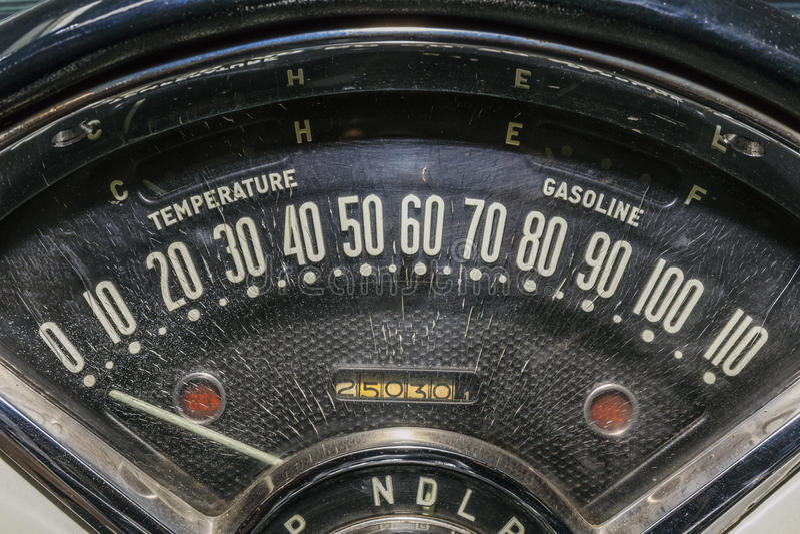 Speedometer odometer old car. Speedometer transportation speed race odometer vintage car stock photography
