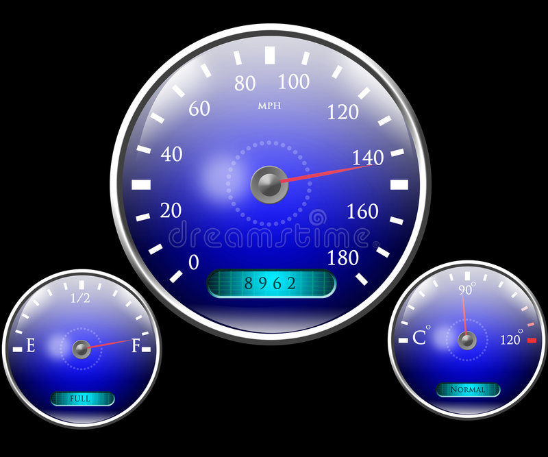 Speedometer and other dials. On black background vector illustration
