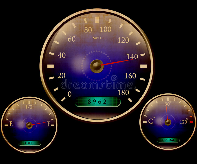 Speedometer and other dials stock illustration