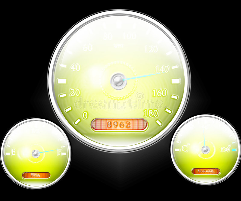 Speedometer and other dials vector illustration
