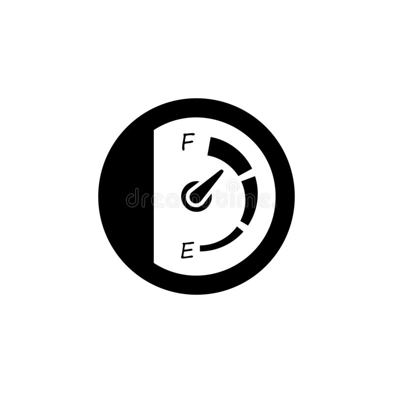 Speedometer, petrol icon. Simple glyph vector of universal set icons for UI and UX, website or mobile application. On white background stock illustration