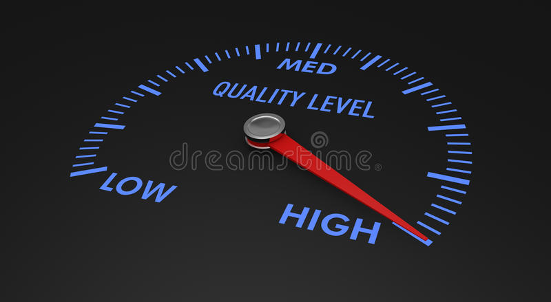 Speedometer - quality level. Speedometer with quality level, with needle on the high value (3d render vector illustration