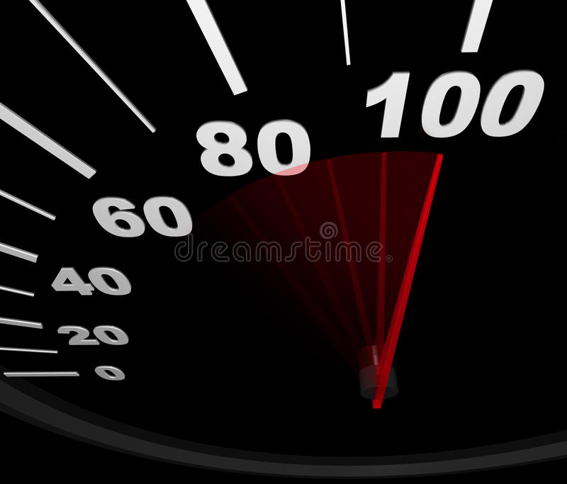 Speedometer - Racing To 100 MPH Royalty Free Stock Photography