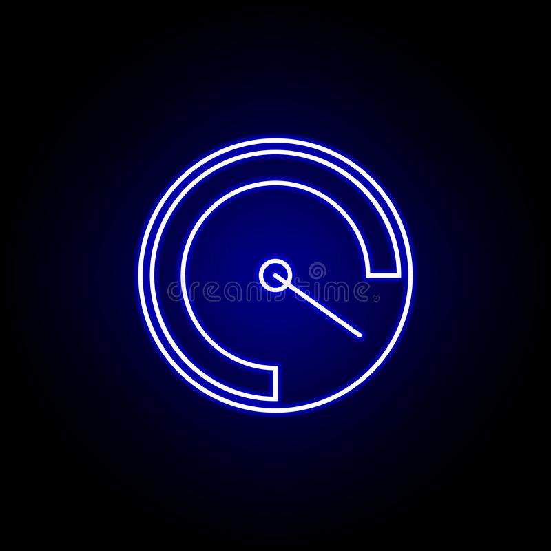 Speedometer speed time clock icon in blue neon style.. Elements of time illustration icon. Signs, symbols can be used for web,. Logo, mobile app, UI, UX on royalty free illustration
