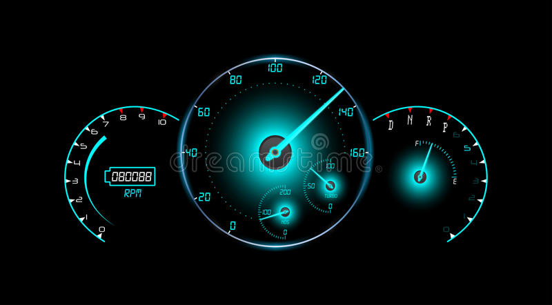 Speedometer, tachometer, fuel and temperature gauge isolated black background stock illustration