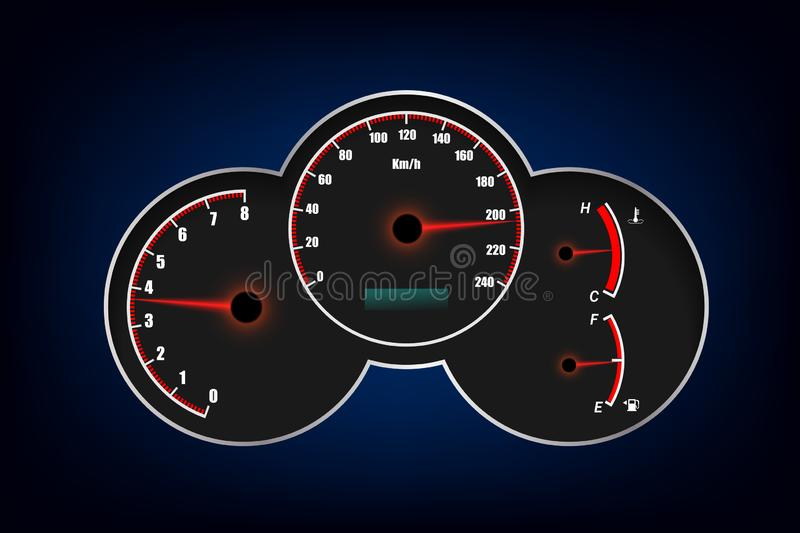 Speedometer, tachometer, fuel and temperature gauge.vector illustration eps10 vector illustration