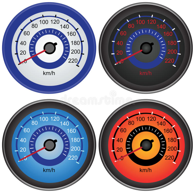Speedometers. A collection of speedometers, vector illustration isolated on white background stock illustration