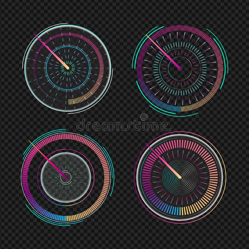 Speedometers for dashboard. Measuring speed analog indicator device. Set of isolated futuristic speedometer, technology gauge. Speedometers for dashboard vector illustration