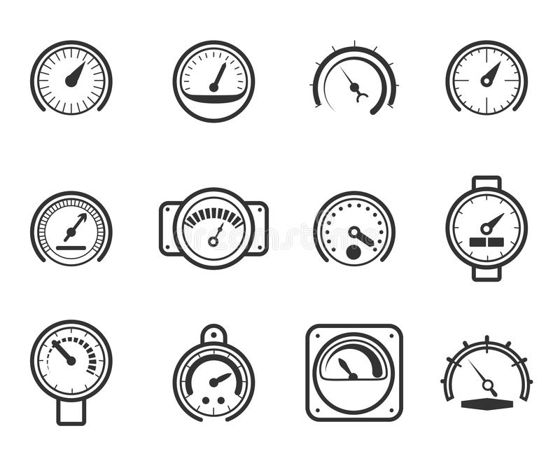 Speedometers, manometers, tachometers and vector illustration