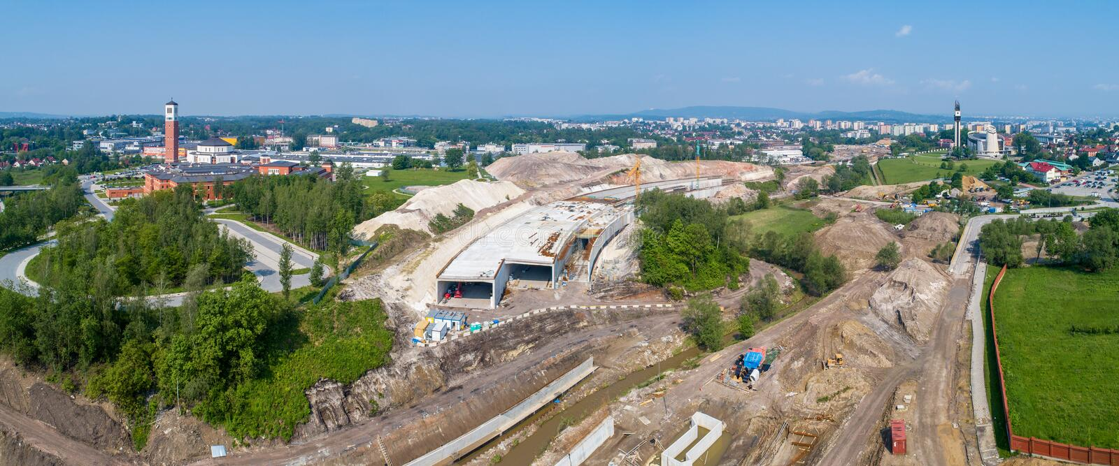 Speedway with tunnel under construction in Cracow, Poland royalty free stock photography
