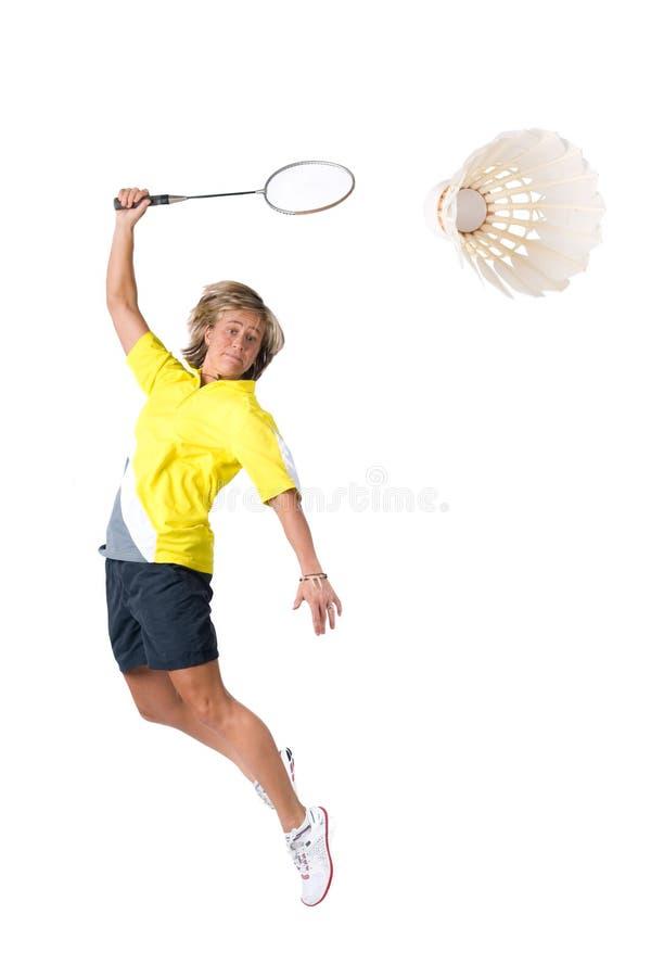 Speel badminton royalty-vrije stock afbeelding