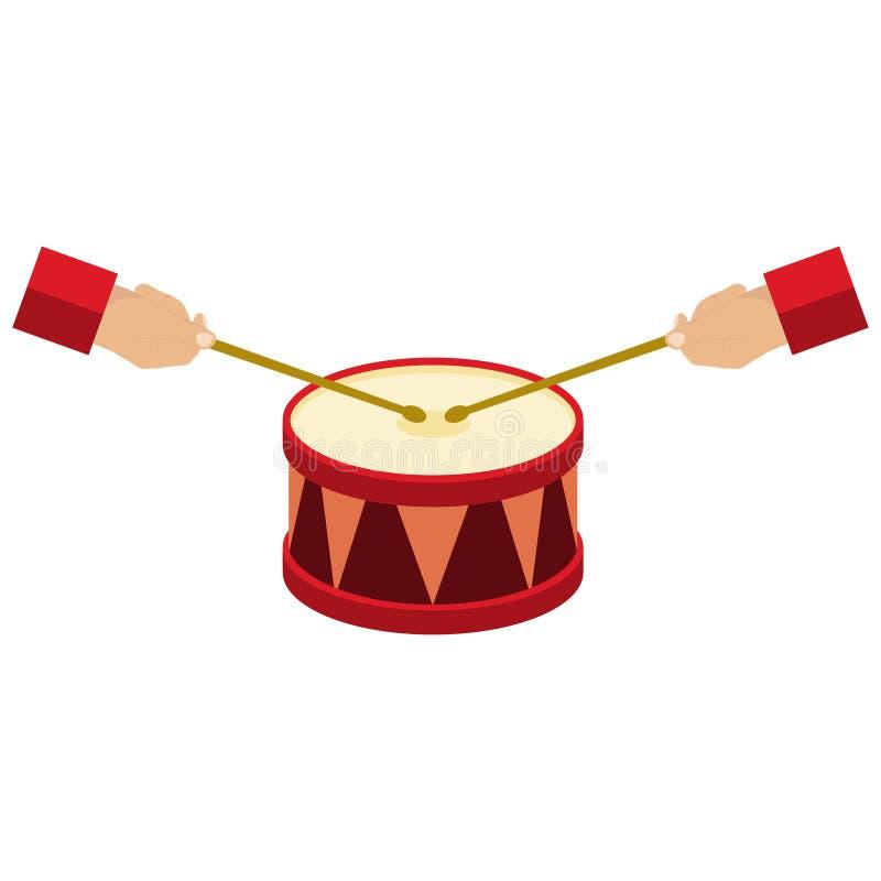 Speel de trommel, handengreep de trommelstokken, het trommelpictogram vector illustratie