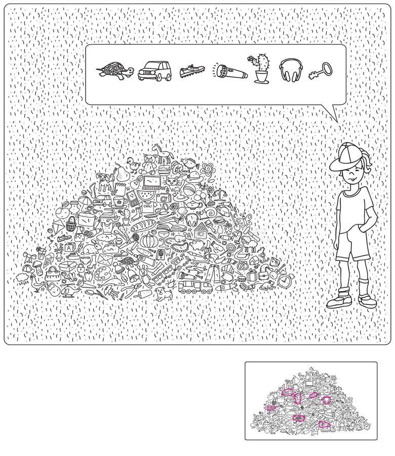 Speel het Verborgen Objecten Spel stock illustratie