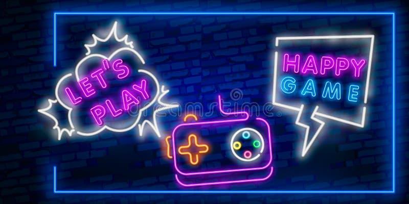 Speel neonteken, helder uithangbord, lichte banner Spelembleem, embleem en etiket De schepper van het neonteken De neontekst geef vector illustratie