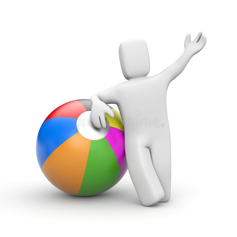 Speel! Persoon met stuk speelgoed bal vector illustratie