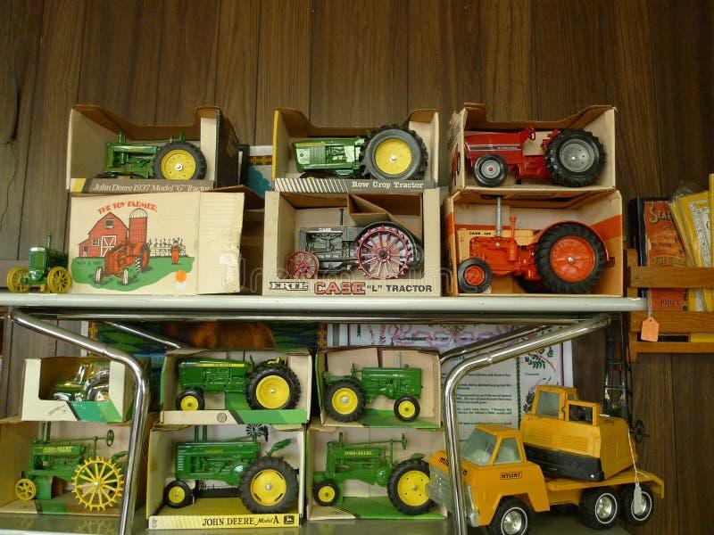 Speelgoed, de oude tractoren van het metaallandbouwbedrijf, Ertl, Geval IH, John Deere royalty-vrije stock fotografie