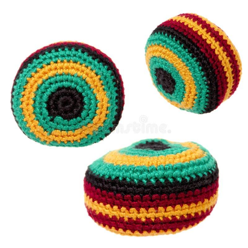 Speelgoed: De Zak van Hacky of Trio Footbag royalty-vrije stock afbeelding