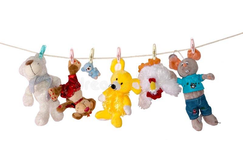 Speelgoed op koord royalty-vrije stock afbeeldingen