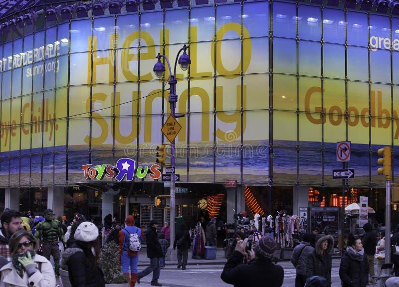 Speelgoed ' R ' ons de Opslag van het Vlaggeschip in Times Square stock foto