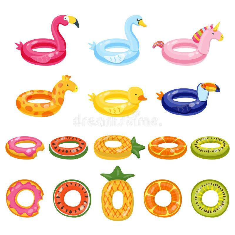 Speelgoed van pool het opblaasbare leuke jonge geitjes geplaatst die op witte achtergrond wordt geïsoleerd Vectorhand getrokken k stock illustratie