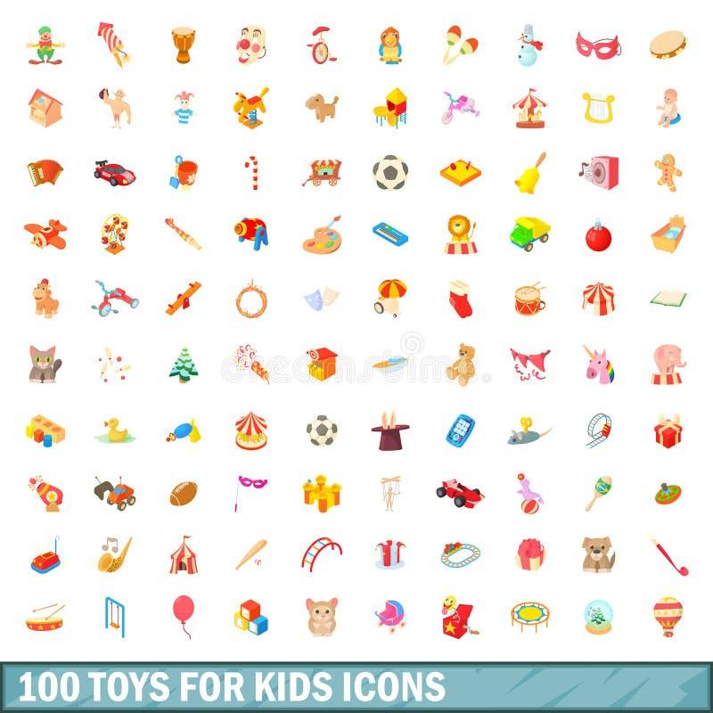 100 speelgoed voor geplaatste jonge geitjespictogrammen, beeldverhaalstijl stock illustratie