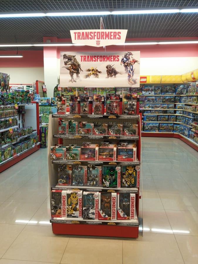 Speelgoed voor verkoop in een opslag stock afbeelding