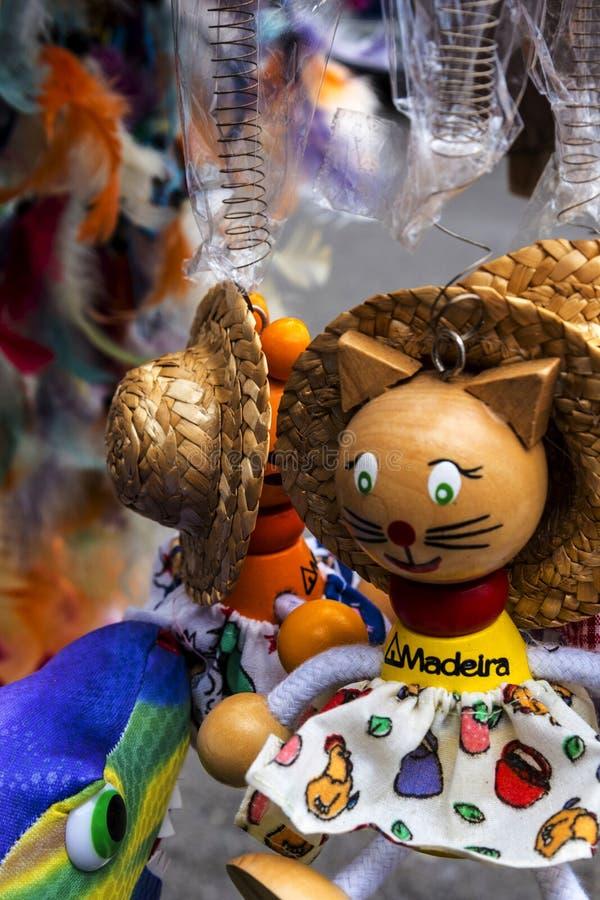 Speelgoed voor verkoop in winkel in Porto Moniz op de Noordwestenkust waar de Bergen in het noorden van het Eiland Madera royalty-vrije stock foto's
