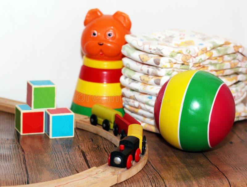 Speelgoedinzameling, houten trein royalty-vrije stock afbeeldingen