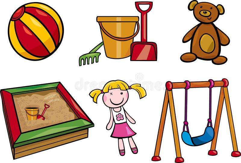 Speelgoedobjecten de reeks van de beeldverhaalillustratie vector illustratie