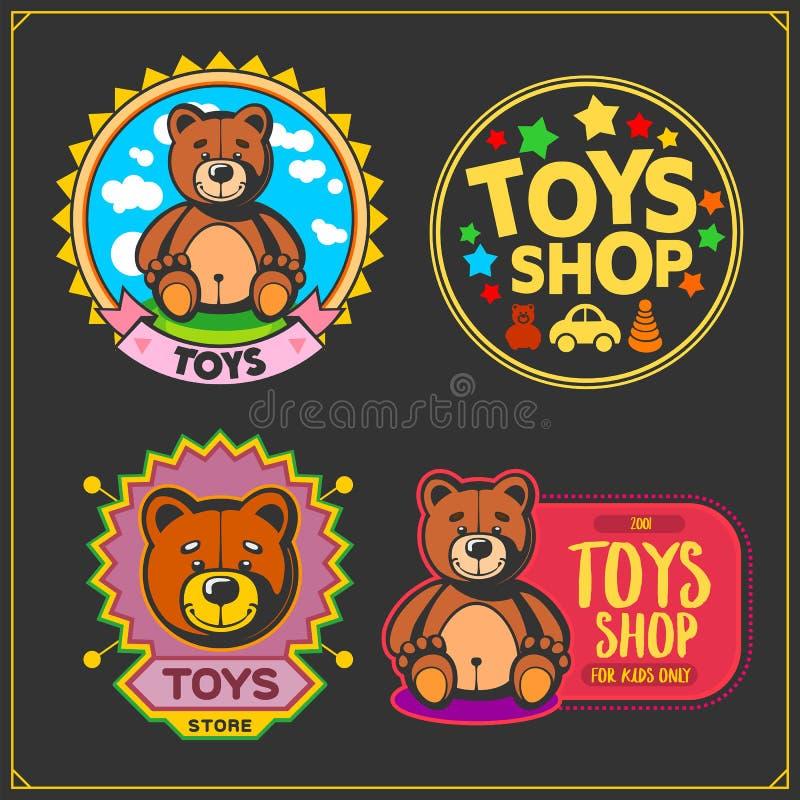 Speelgoedwinkel en van de jonge geitjesstreek emblemen, etiketten en ontwerpelementen Leuk zacht pluche dierlijk speelgoed stock illustratie