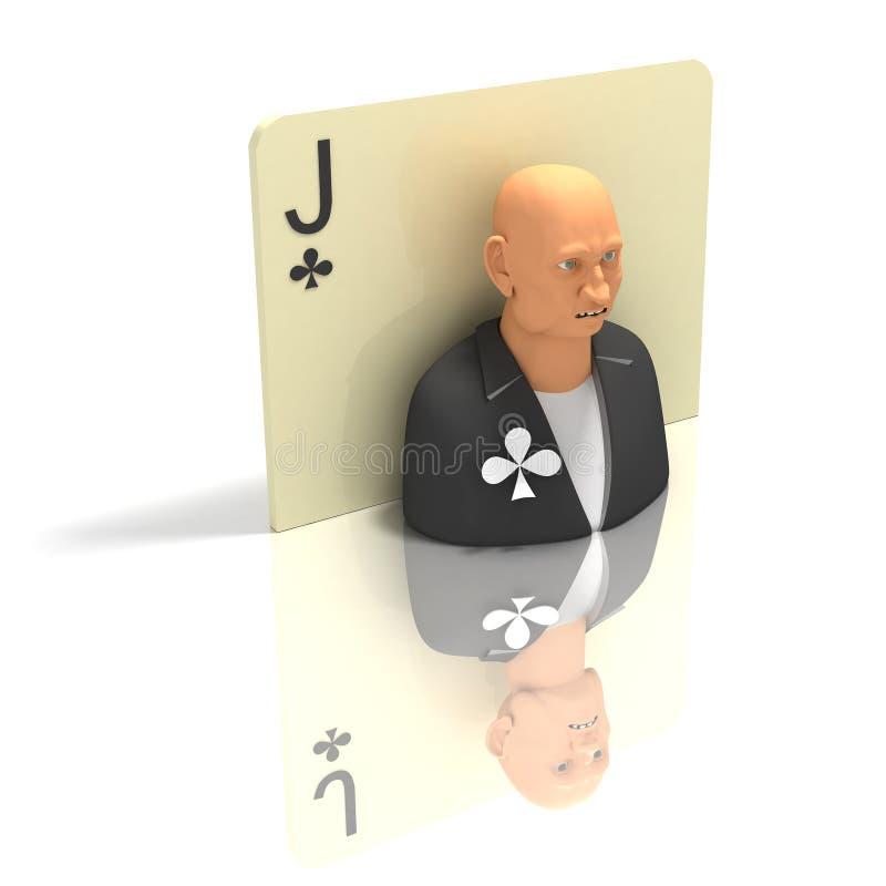 Speelkaart: Jack van Clubes met bezinning royalty-vrije illustratie