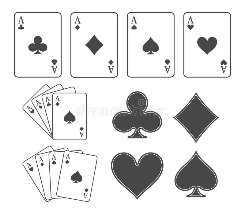 Speelkaarten en kostuums royalty-vrije illustratie