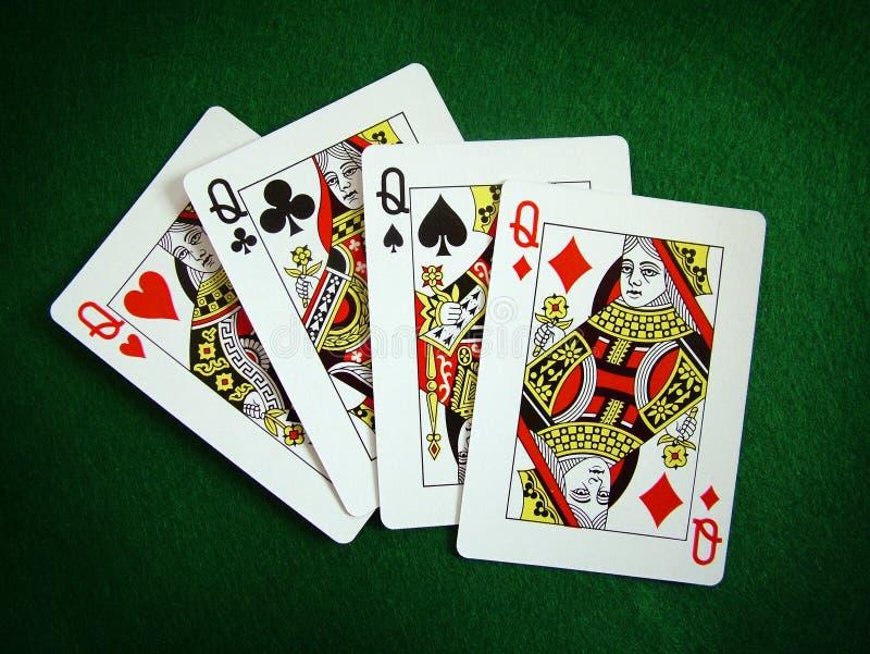 Speelkaarten en pook stock afbeeldingen