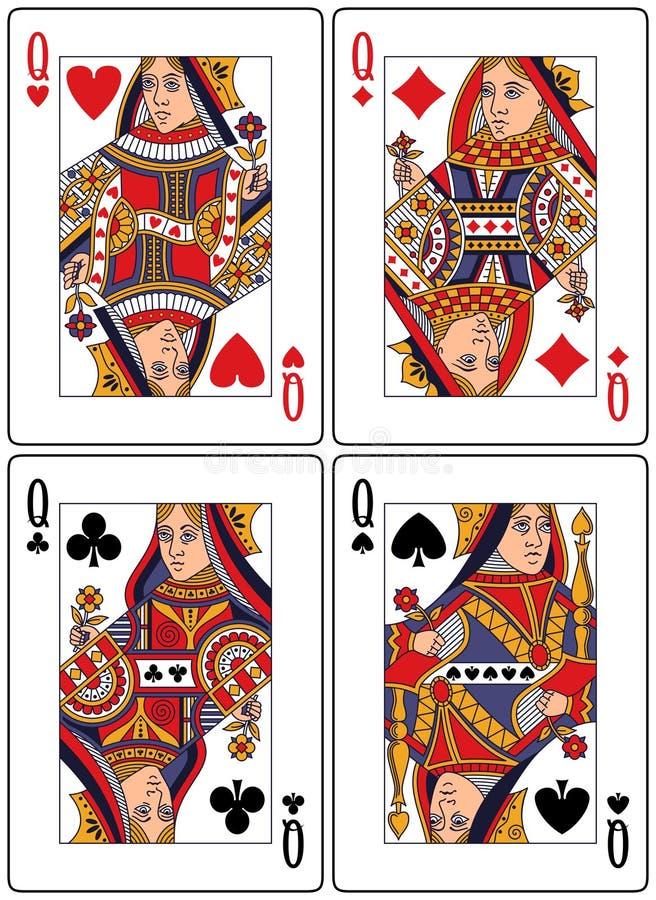 Speelkaarten - Koninginnen royalty-vrije illustratie