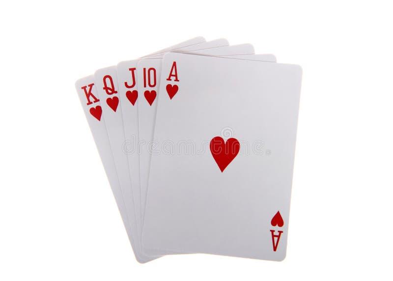 Speelkaarten koninklijke die vloed op wit wordt geïsoleerd royalty-vrije stock fotografie