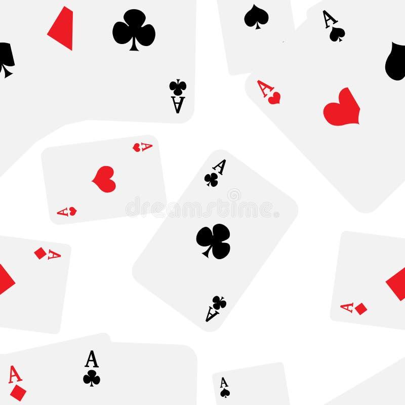Speelkaarten met vier azen naadloos die patroon op witte achtergrondwebsitepagina en mobiel app ontwerp wordt geïsoleerd stock illustratie
