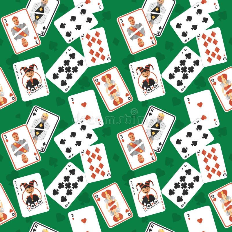 Speelkaarten naadloos patroon stock illustratie