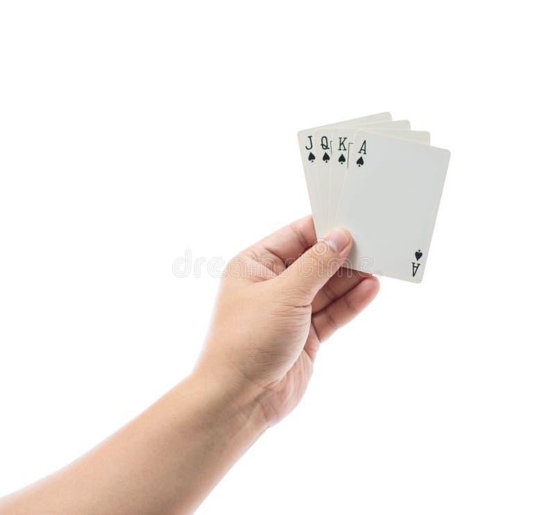 Speelkaarten op witte achtergrond ter beschikking worden geïsoleerd die royalty-vrije stock afbeeldingen
