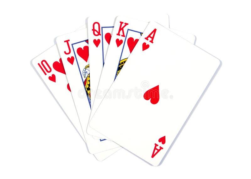 Speelkaarten - op witte achtergrond worden ge?soleerd die Koninklijke Vloed Speelkaarten die op een witte achtergrond worden ge?s stock fotografie