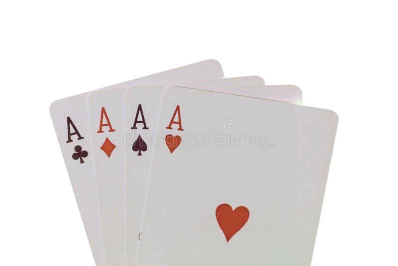 Speelkaarten, pook, casino Vier azen die op witte achtergrond worden geïsoleerd? royalty-vrije stock afbeelding