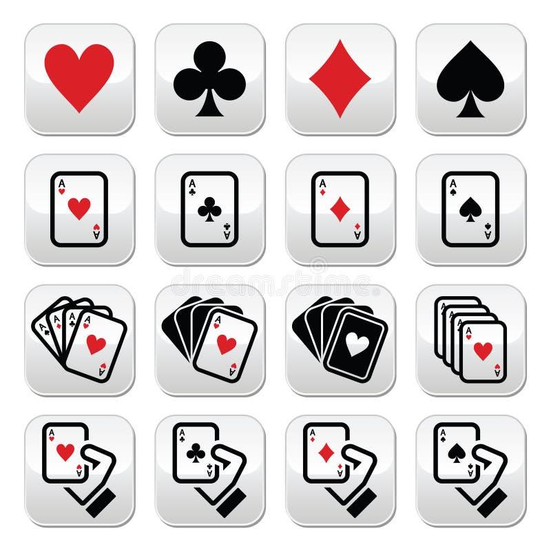 Speelkaarten, pook, het gokken geplaatste knopen vector illustratie