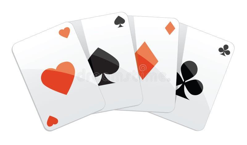 Speelkaarten vier de hand van de azenpook royalty-vrije illustratie